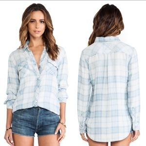 RAILS Liam Button Down Plaid Top in Vintage Wash